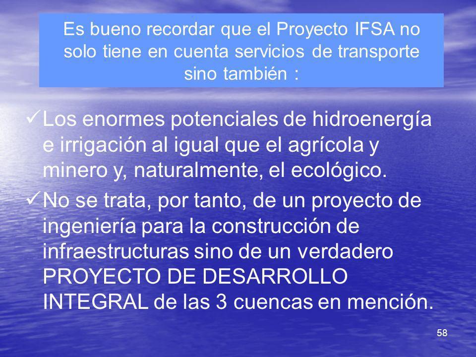 58 Es bueno recordar que el Proyecto IFSA no solo tiene en cuenta servicios de transporte sino también : Los enormes potenciales de hidroenergía e irr