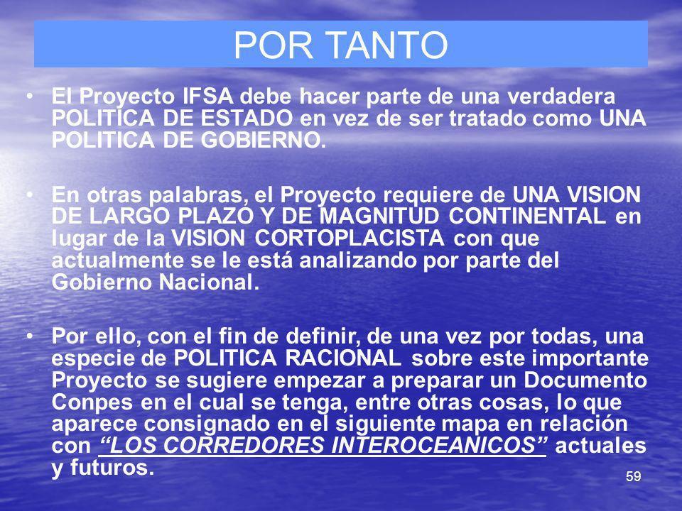 59 POR TANTO El Proyecto IFSA debe hacer parte de una verdadera POLITICA DE ESTADO en vez de ser tratado como UNA POLITICA DE GOBIERNO. En otras palab