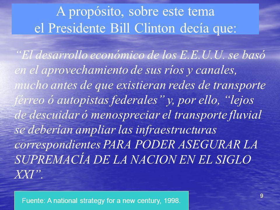 9 A propósito, sobre este tema el Presidente Bill Clinton decía que: El desarrollo económico de los E.E.U.U. se basó en el aprovechamiento de sus ríos