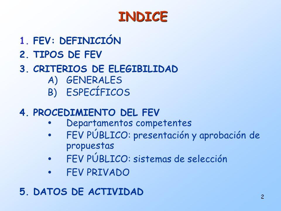 2 INDICE 1. FEV: DEFINICIÓN 2. TIPOS DE FEV 3. CRITERIOS DE ELEGIBILIDAD A)GENERALES B)ESPECÍFICOS 4. PROCEDIMIENTO DEL FEV Departamentos competentes