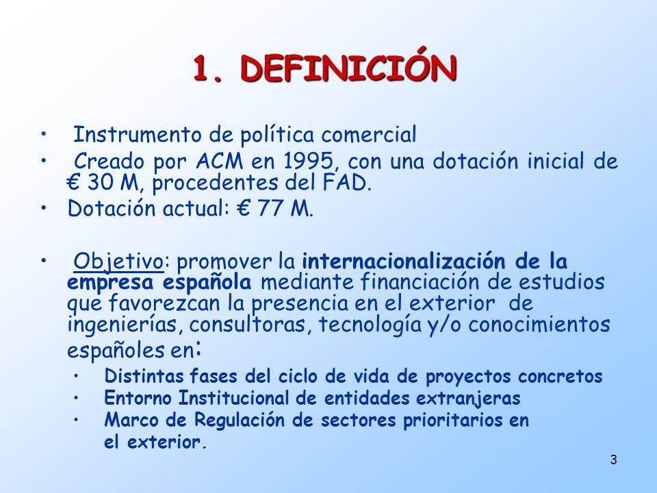 3 Instrumento de política comercial Creado por ACM en 1995, con una dotación inicial de 30 M, procedentes del FAD. Dotación actual: 77 M. Objetivo: pr