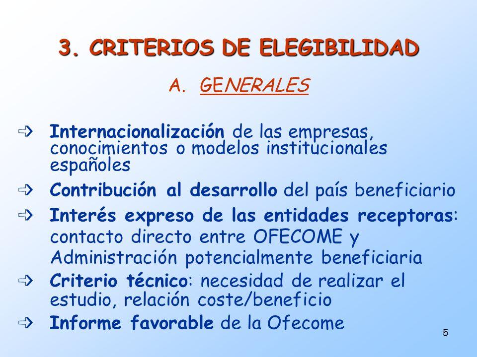5 A.GENERALES Internacionalización de las empresas, conocimientos o modelos institucionales españoles Contribución al desarrollo del país beneficiario