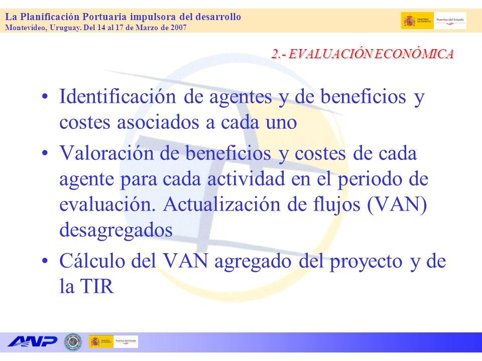 La Planificación Portuaria impulsora del desarrollo Montevideo, Uruguay. Del 14 al 17 de Marzo de 2007 2.- EVALUACIÓN ECONÓMICA Identificación de agen
