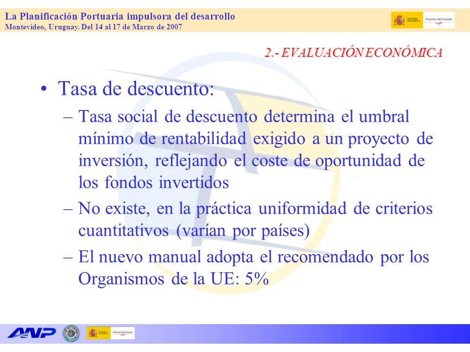 La Planificación Portuaria impulsora del desarrollo Montevideo, Uruguay. Del 14 al 17 de Marzo de 2007 2.- EVALUACIÓN ECONÓMICA Tasa de descuento: –Ta