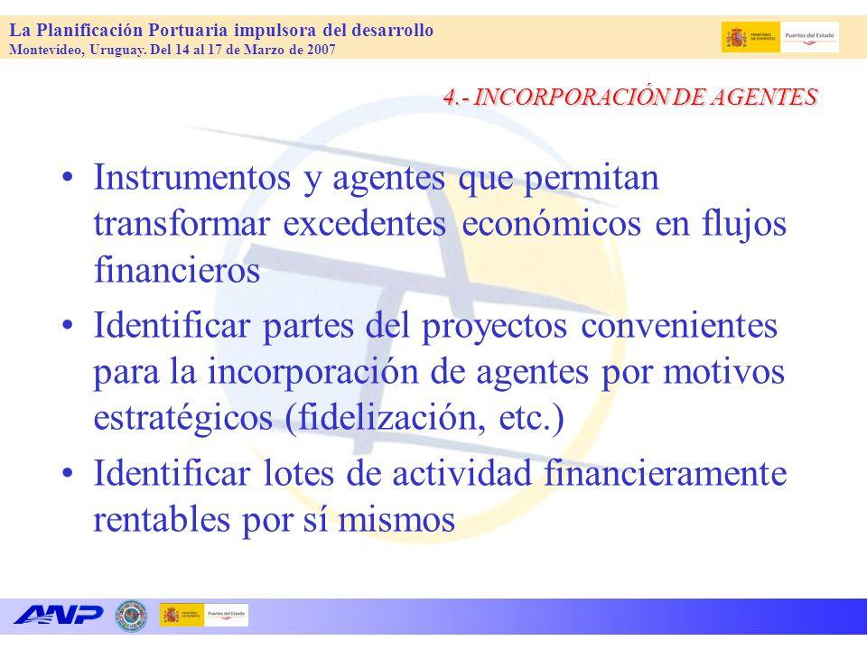 La Planificación Portuaria impulsora del desarrollo Montevideo, Uruguay. Del 14 al 17 de Marzo de 2007 4.- INCORPORACIÓN DE AGENTES Instrumentos y age