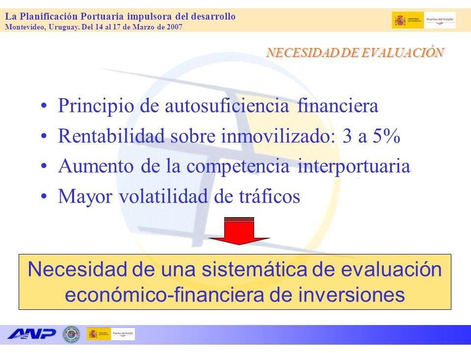 La Planificación Portuaria impulsora del desarrollo Montevideo, Uruguay. Del 14 al 17 de Marzo de 2007 Principio de autosuficiencia financiera Rentabi