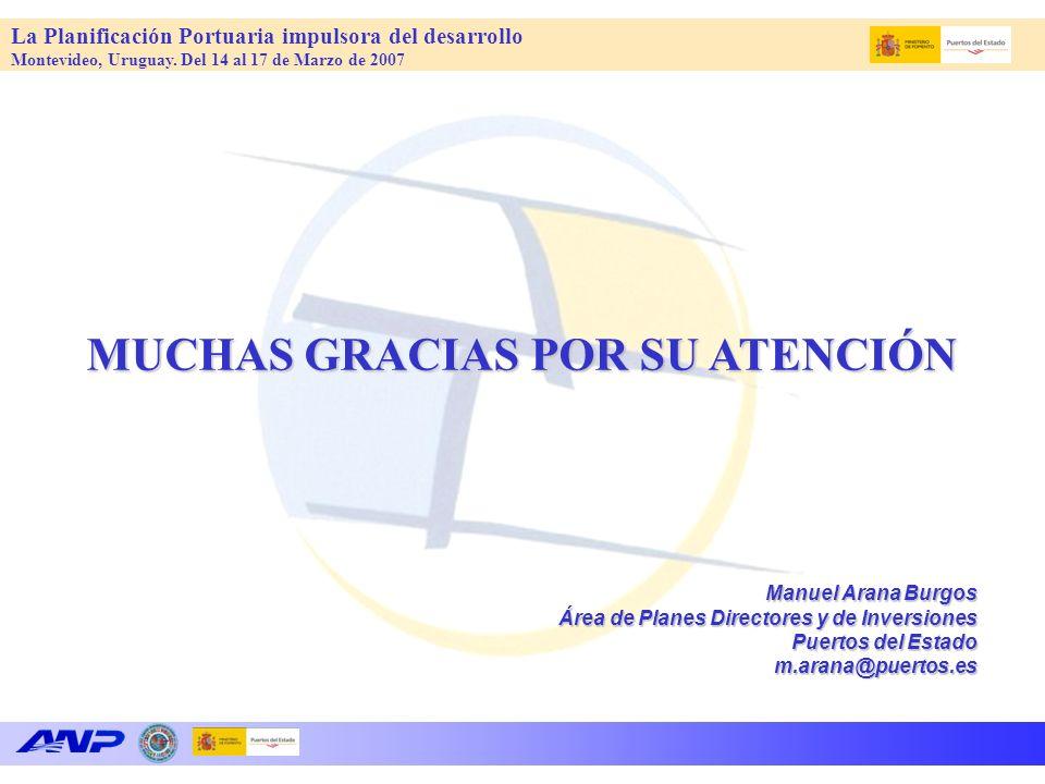 La Planificación Portuaria impulsora del desarrollo Montevideo, Uruguay. Del 14 al 17 de Marzo de 2007 MUCHAS GRACIAS POR SU ATENCIÓN Manuel Arana Bur