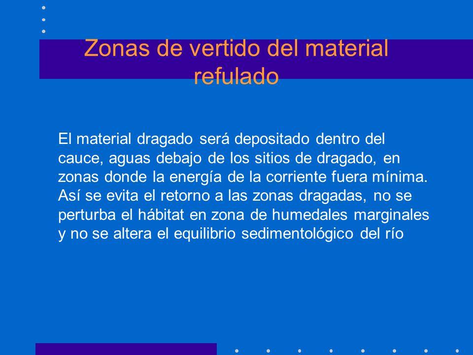 Zonas de vertido del material refulado El material dragado será depositado dentro del cauce, aguas debajo de los sitios de dragado, en zonas donde la
