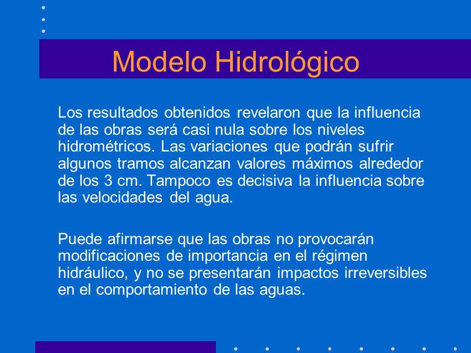 Modelo Hidrológico Los resultados obtenidos revelaron que la influencia de las obras será casi nula sobre los niveles hidrométricos. Las variaciones q