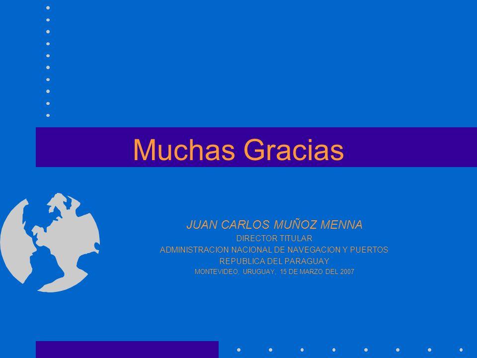 Muchas Gracias JUAN CARLOS MUÑOZ MENNA DIRECTOR TITULAR ADMINISTRACION NACIONAL DE NAVEGACION Y PUERTOS REPUBLICA DEL PARAGUAY MONTEVIDEO, URUGUAY, 15