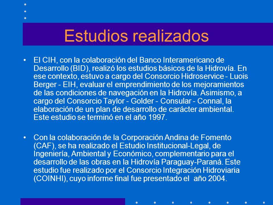 Estudios realizados El CIH, con la colaboración del Banco Interamericano de Desarrollo (BID), realizó los estudios básicos de la Hidrovía. En ese cont