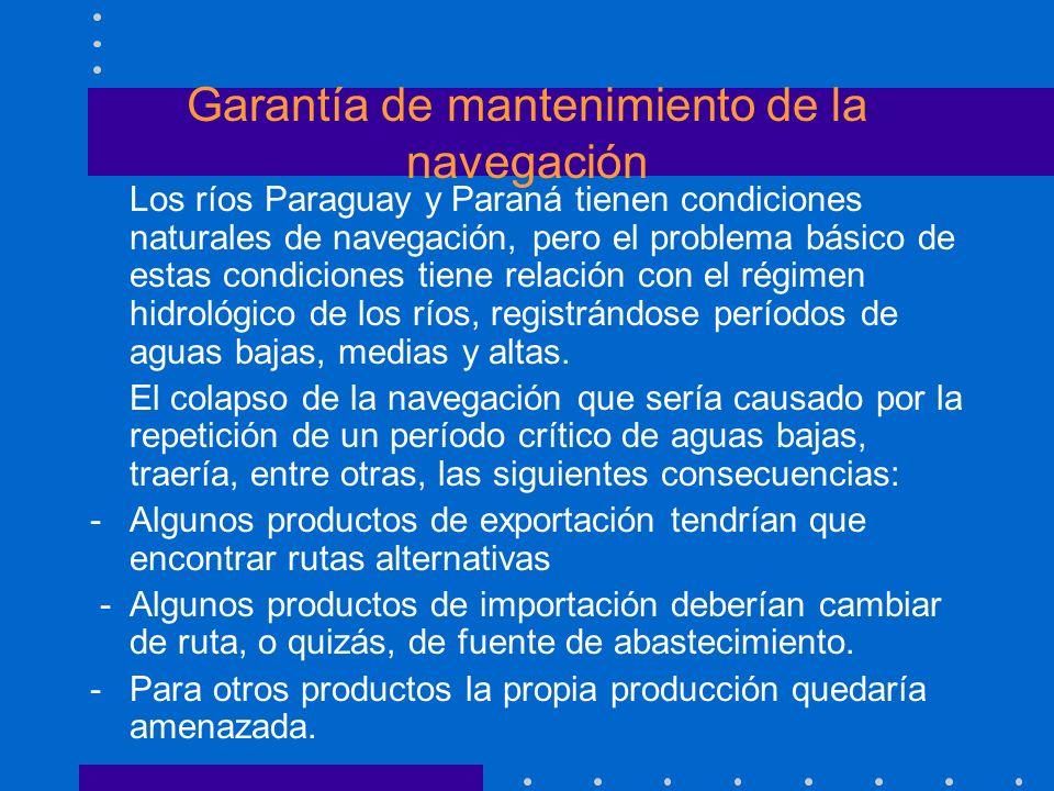 Garantía de mantenimiento de la navegación Los ríos Paraguay y Paraná tienen condiciones naturales de navegación, pero el problema básico de estas con