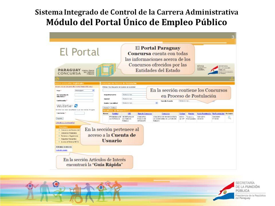 Sistema Integrado de Control de la Carrera Administrativa Módulo del Portal Único de Empleo Público