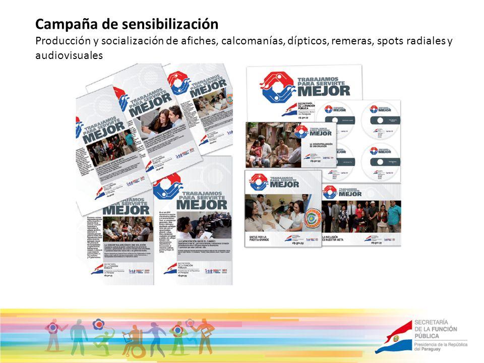 Campaña de sensibilización Producción y socialización de afiches, calcomanías, dípticos, remeras, spots radiales y audiovisuales