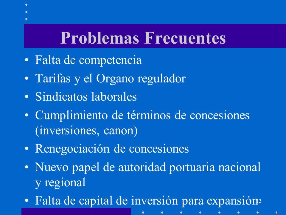 13 Problemas Frecuentes Falta de competencia Tarifas y el Organo regulador Sindicatos laborales Cumplimiento de términos de concesiones (inversiones,
