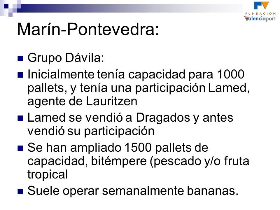 Marín-Pontevedra: Grupo Dávila: Inicialmente tenía capacidad para 1000 pallets, y tenía una participación Lamed, agente de Lauritzen Lamed se vendió a