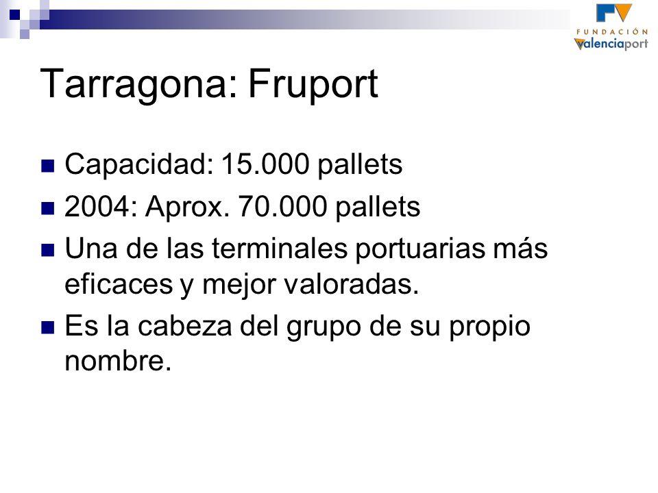 Capacidad: 15.000 pallets 2004: Aprox. 70.000 pallets Una de las terminales portuarias más eficaces y mejor valoradas. Es la cabeza del grupo de su pr