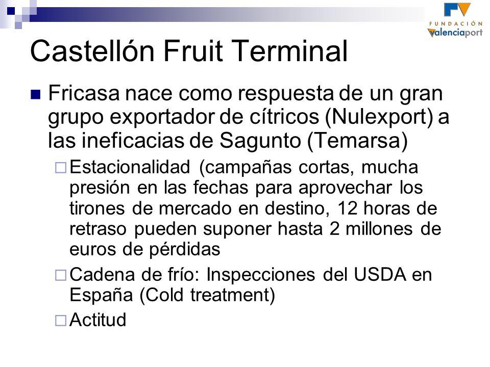 Castellón Fruit Terminal Fricasa nace como respuesta de un gran grupo exportador de cítricos (Nulexport) a las ineficacias de Sagunto (Temarsa) Estaci
