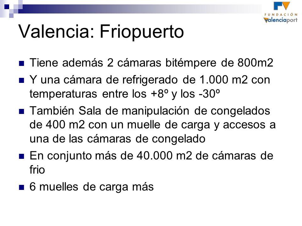 Valencia: Friopuerto Tiene además 2 cámaras bitémpere de 800m2 Y una cámara de refrigerado de 1.000 m2 con temperaturas entre los +8º y los -30º Tambi