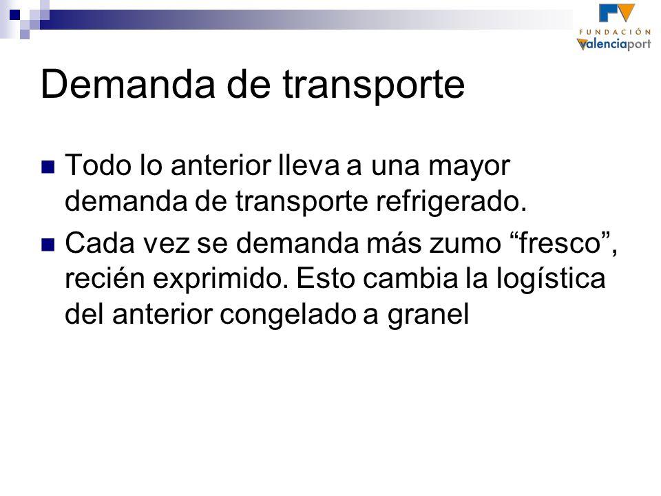 Demanda de transporte Todo lo anterior lleva a una mayor demanda de transporte refrigerado. Cada vez se demanda más zumo fresco, recién exprimido. Est