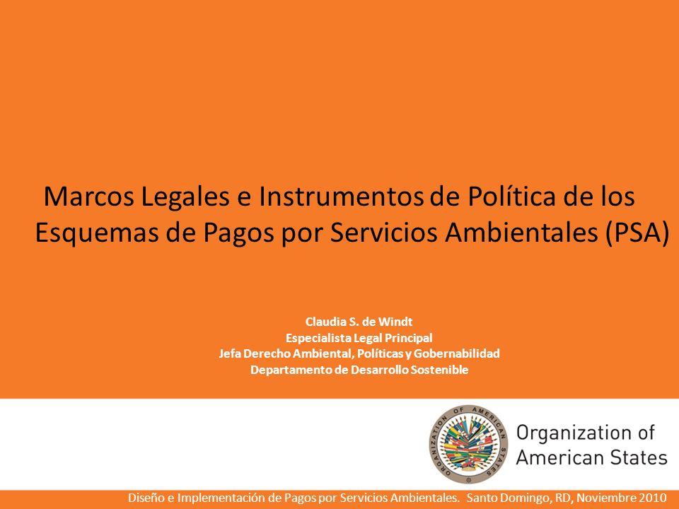 Claudia S. de Windt Especialista Legal Principal Jefa Derecho Ambiental, Políticas y Gobernabilidad Departamento de Desarrollo Sostenible Marcos Legal