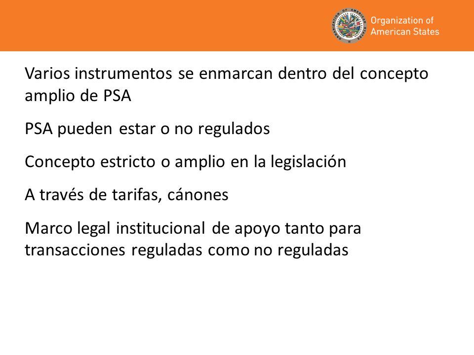 Varios instrumentos se enmarcan dentro del concepto amplio de PSA PSA pueden estar o no regulados Concepto estricto o amplio en la legislación A travé