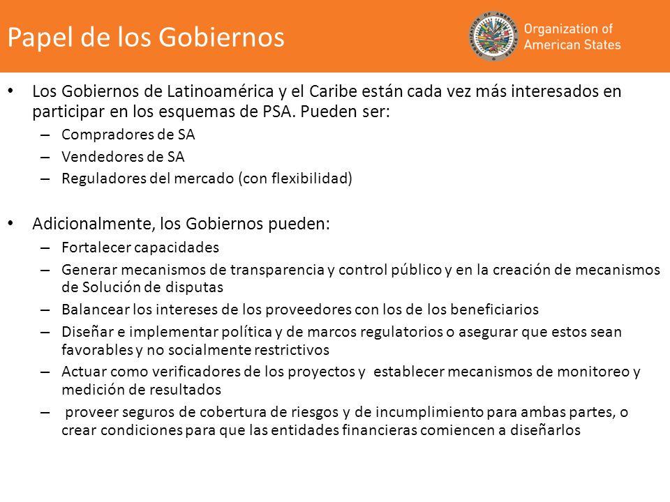 Los Gobiernos de Latinoamérica y el Caribe están cada vez más interesados en participar en los esquemas de PSA. Pueden ser: – Compradores de SA – Vend