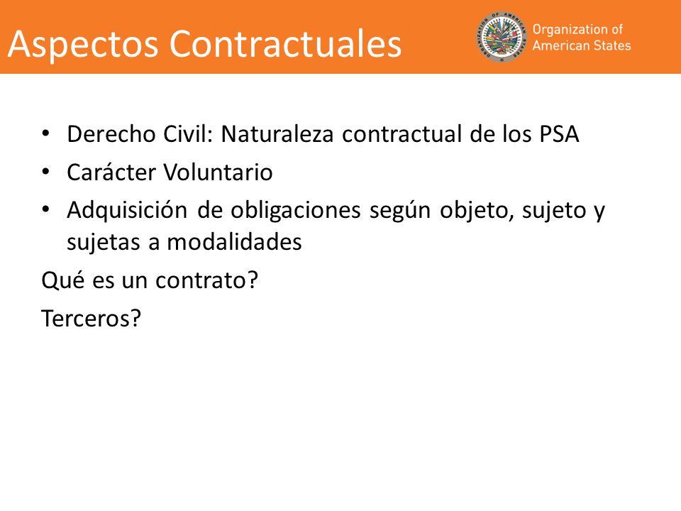 Aspectos Contractuales Derecho Civil: Naturaleza contractual de los PSA Carácter Voluntario Adquisición de obligaciones según objeto, sujeto y sujetas