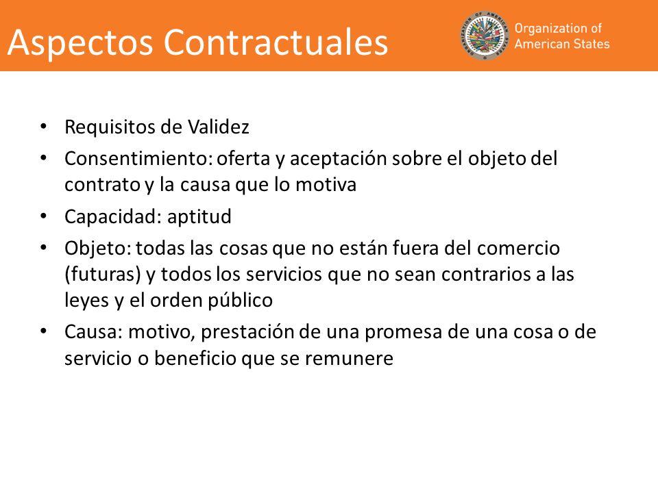 Aspectos Contractuales Requisitos de Validez Consentimiento: oferta y aceptación sobre el objeto del contrato y la causa que lo motiva Capacidad: apti