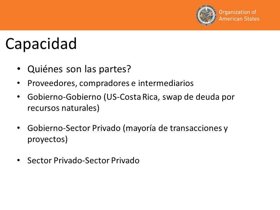 Capacidad Quiénes son las partes? Proveedores, compradores e intermediarios Gobierno-Gobierno (US-Costa Rica, swap de deuda por recursos naturales) Go