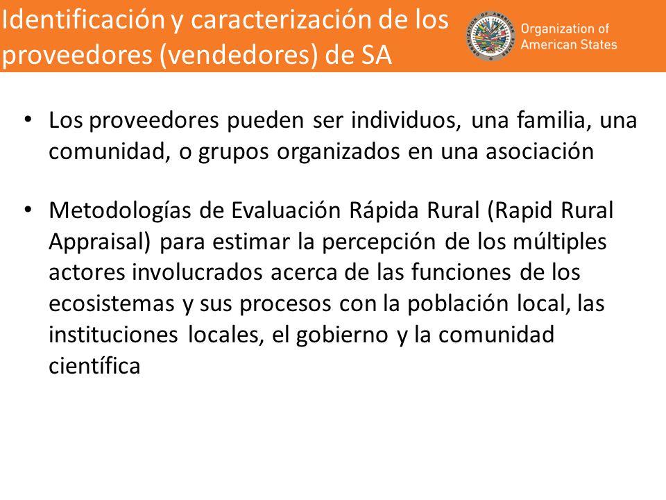 Identificación y caracterización de los proveedores (vendedores) de SA Los proveedores pueden ser individuos, una familia, una comunidad, o grupos org