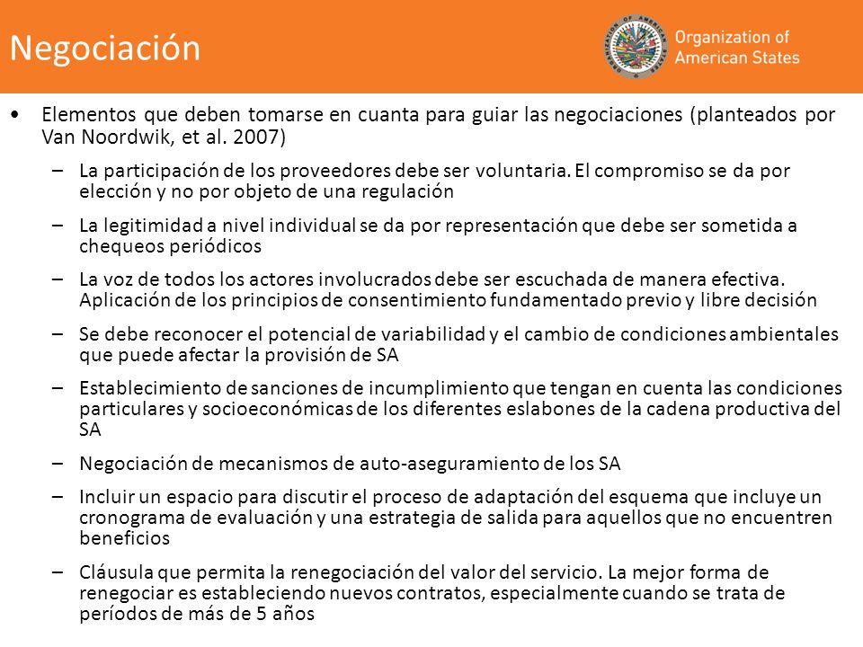 Elementos que deben tomarse en cuanta para guiar las negociaciones (planteados por Van Noordwik, et al. 2007) –La participación de los proveedores deb