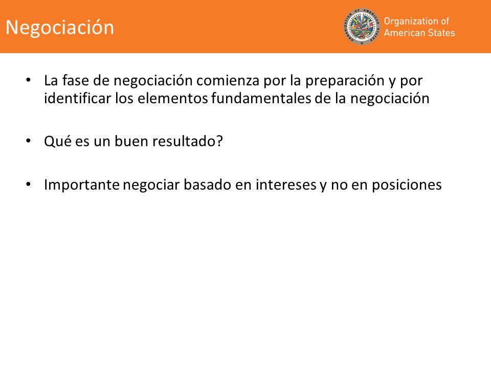Negociación La fase de negociación comienza por la preparación y por identificar los elementos fundamentales de la negociación Qué es un buen resultad