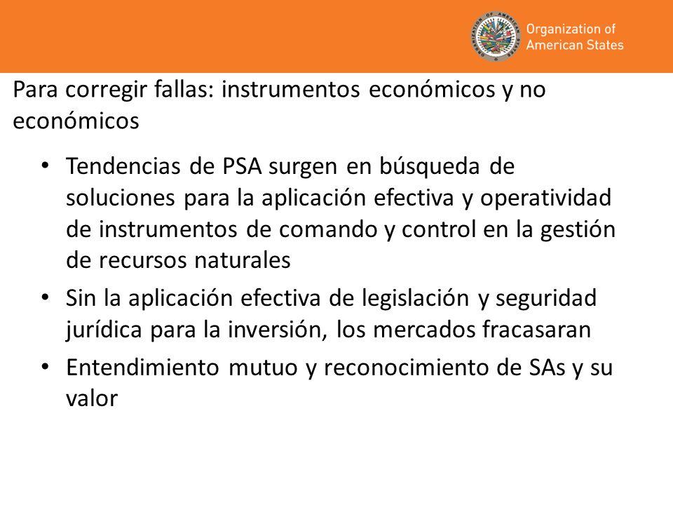 Para corregir fallas: instrumentos económicos y no económicos Tendencias de PSA surgen en búsqueda de soluciones para la aplicación efectiva y operati