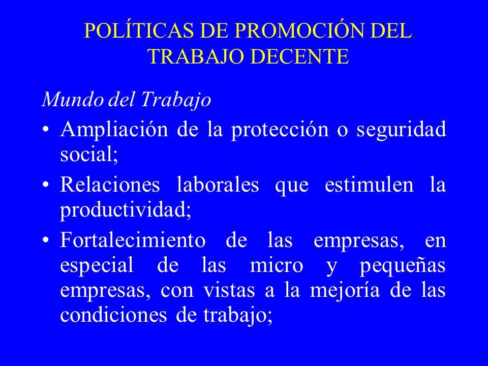 POLÍTICAS DE PROMOCIÓN DEL TRABAJO DECENTE Mundo del Trabajo Ampliación de la protección o seguridad social; Relaciones laborales que estimulen la pro