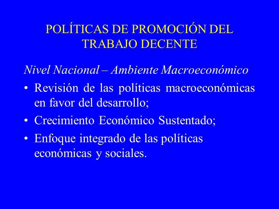 POLÍTICAS DE PROMOCIÓN DEL TRABAJO DECENTE Nivel Nacional – Ambiente Macroeconómico Revisión de las políticas macroeconómicas en favor del desarrollo; Crecimiento Económico Sustentado; Enfoque integrado de las políticas económicas y sociales.