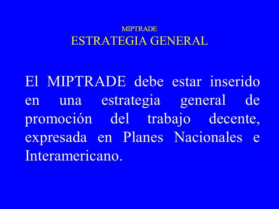 MIPTRADE ESTRATEGIA GENERAL El MIPTRADE debe estar inserido en una estrategia general de promoción del trabajo decente, expresada en Planes Nacionales e Interamericano.