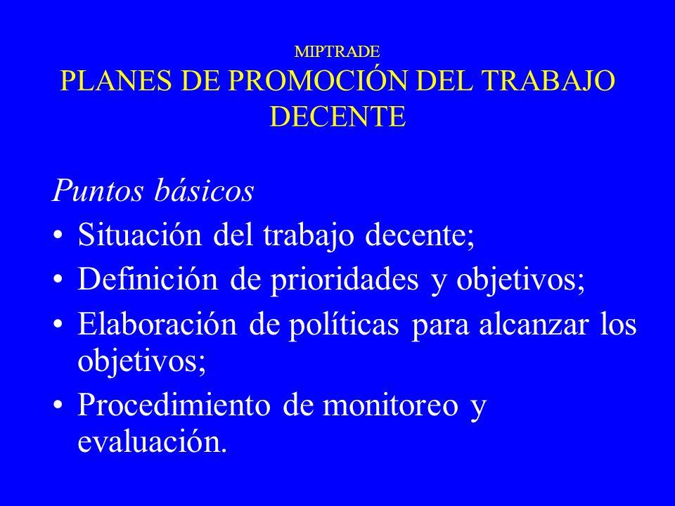 MIPTRADE PLANES DE PROMOCIÓN DEL TRABAJO DECENTE Puntos básicos Situación del trabajo decente; Definición de prioridades y objetivos; Elaboración de p