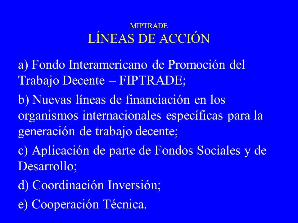 a) Fondo Interamericano de Promoción del Trabajo Decente – FIPTRADE; b) Nuevas líneas de financiación en los organismos internacionales específicas pa