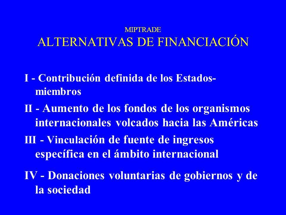 MIPTRADE ALTERNATIVAS DE FINANCIACIÓN I - Contribución definida de los Estados- miembros II - Aumento de los fondos de los organismos internacionales volcados hacia las Américas III - Vincul ación de fuente de ingresos específica en el ámbito internacional IV - Donaciones voluntarias de gobiernos y de la sociedad