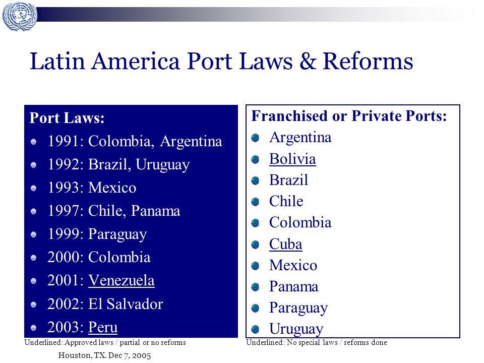 Houston, TX. Dec 7, 2005 Latin America Port Laws & Reforms Port Laws: 1991: Colombia, Argentina 1992: Brazil, Uruguay 1993: Mexico 1997: Chile, Panama