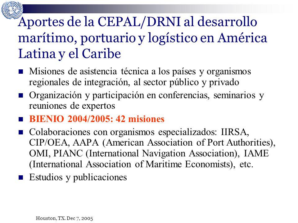 Houston, TX. Dec 7, 2005 Aportes de la CEPAL/DRNI al desarrollo marítimo, portuario y logístico en América Latina y el Caribe Misiones de asistencia t