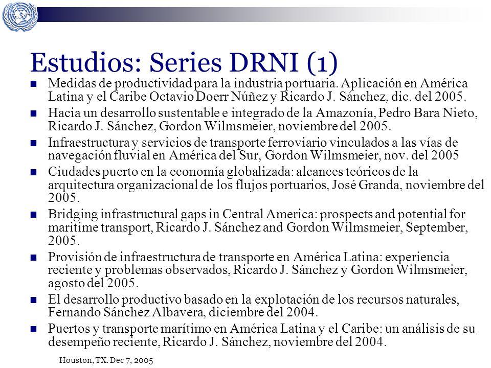 Houston, TX. Dec 7, 2005 Estudios: Series DRNI (1) Medidas de productividad para la industria portuaria. Aplicación en América Latina y el Caribe Octa