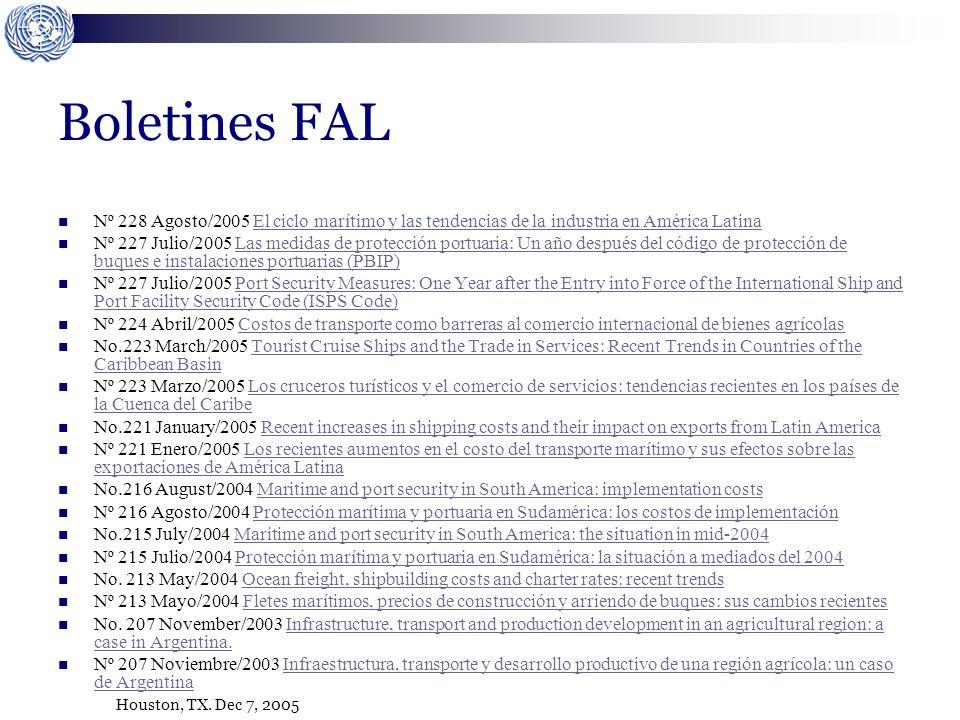 Houston, TX. Dec 7, 2005 Boletines FAL Nº 228 Agosto/2005 El ciclo marítimo y las tendencias de la industria en América LatinaEl ciclo marítimo y las