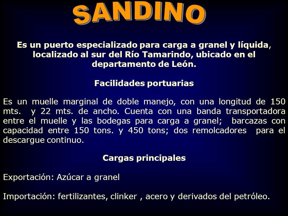 Es un puerto especializado para carga a granel y líquida, localizado al sur del Río Tamarindo, ubicado en el departamento de León. Facilidades portuar