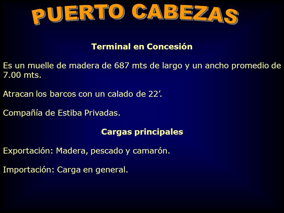 Terminal en Concesión Es un muelle de madera de 687 mts de largo y un ancho promedio de 7.00 mts. Atracan los barcos con un calado de 22. Compañía de