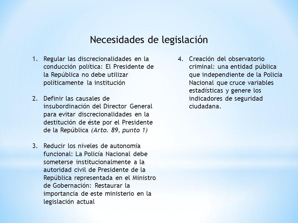 Necesidades de legislación 1.Regular las discrecionalidades en la conducción política: El Presidente de la República no debe utilizar políticamente la