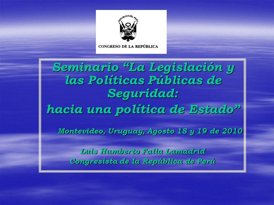 República de Perú Seguridad Ciudadana En el Perú actual, la inseguridad ciudadana contribuye, junto a otros problemas, a deteriorar la calidad de vida de las personas.