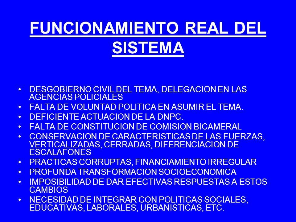 FUNCIONAMIENTO REAL DEL SISTEMA DESGOBIERNO CIVIL DEL TEMA, DELEGACION EN LAS AGENCIAS POLICIALES FALTA DE VOLUNTAD POLITICA EN ASUMIR EL TEMA. DEFICI