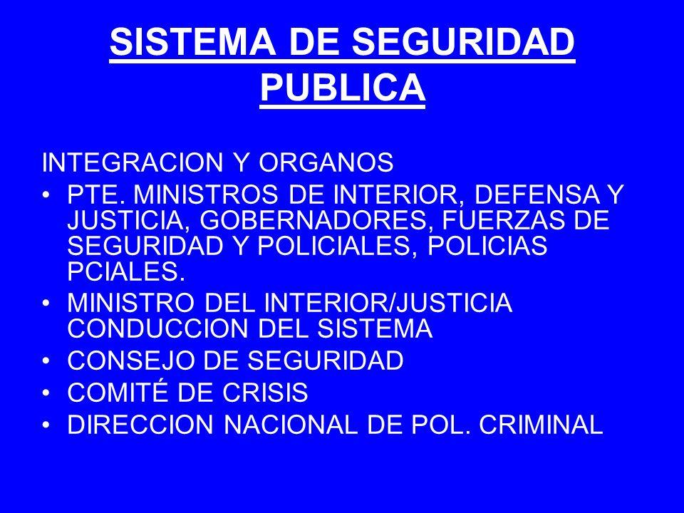 SISTEMA DE SEGURIDAD PUBLICA INTEGRACION Y ORGANOS PTE. MINISTROS DE INTERIOR, DEFENSA Y JUSTICIA, GOBERNADORES, FUERZAS DE SEGURIDAD Y POLICIALES, PO